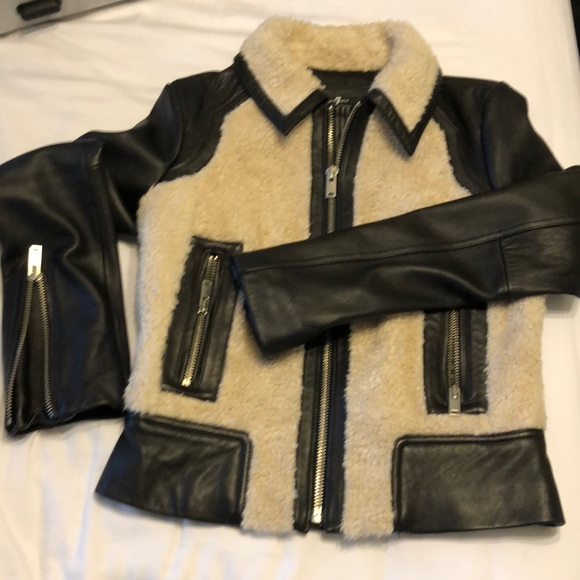 7 For All Mankind Jackets & Blazers - Leather shearling Moto Jacket